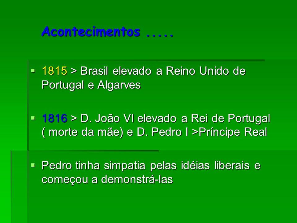 Acontecimentos..... Acontecimentos..... 1815 > Brasil elevado a Reino Unido de Portugal e Algarves 1815 > Brasil elevado a Reino Unido de Portugal e A