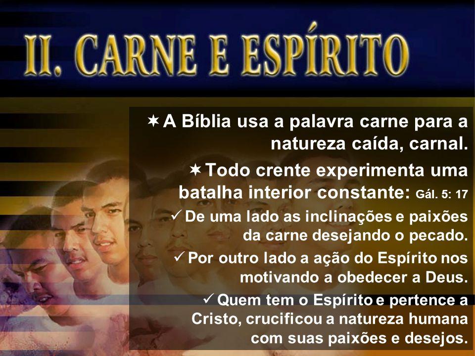 A Bíblia usa a palavra carne para a natureza caída, carnal. Todo crente experimenta uma batalha interior constante: Gál. 5: 17 De uma lado as inclinaç