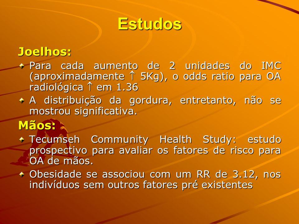 Estudos Joelhos: Joelhos: Para cada aumento de 2 unidades do IMC (aproximadamente 5Kg), o odds ratio para OA radiológica em 1.36 A distribuição da gor