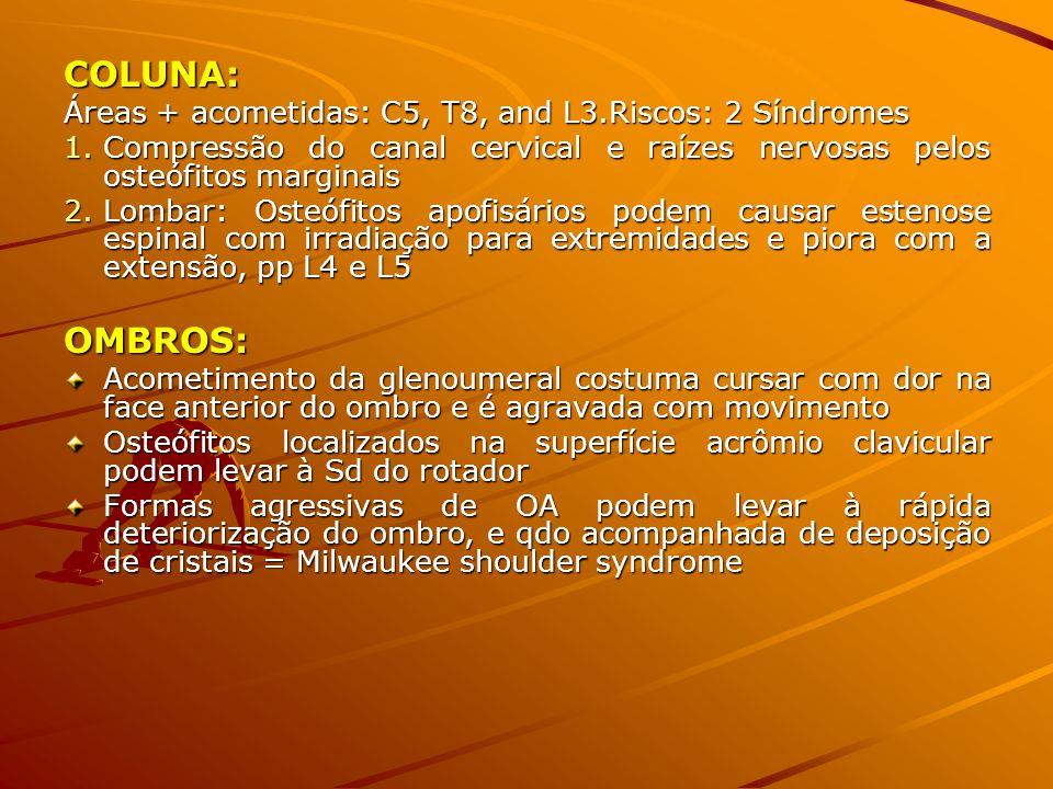 COLUNA: Áreas + acometidas: C5, T8, and L3.Riscos: 2 Síndromes 1.Compressão do canal cervical e raízes nervosas pelos osteófitos marginais 2.Lombar: O