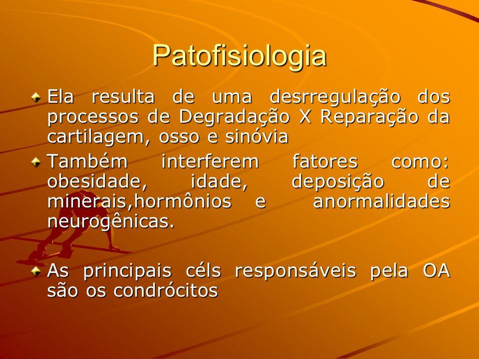 Patofisiologia Ela resulta de uma desrregulação dos processos de Degradação X Reparação da cartilagem, osso e sinóvia Também interferem fatores como:
