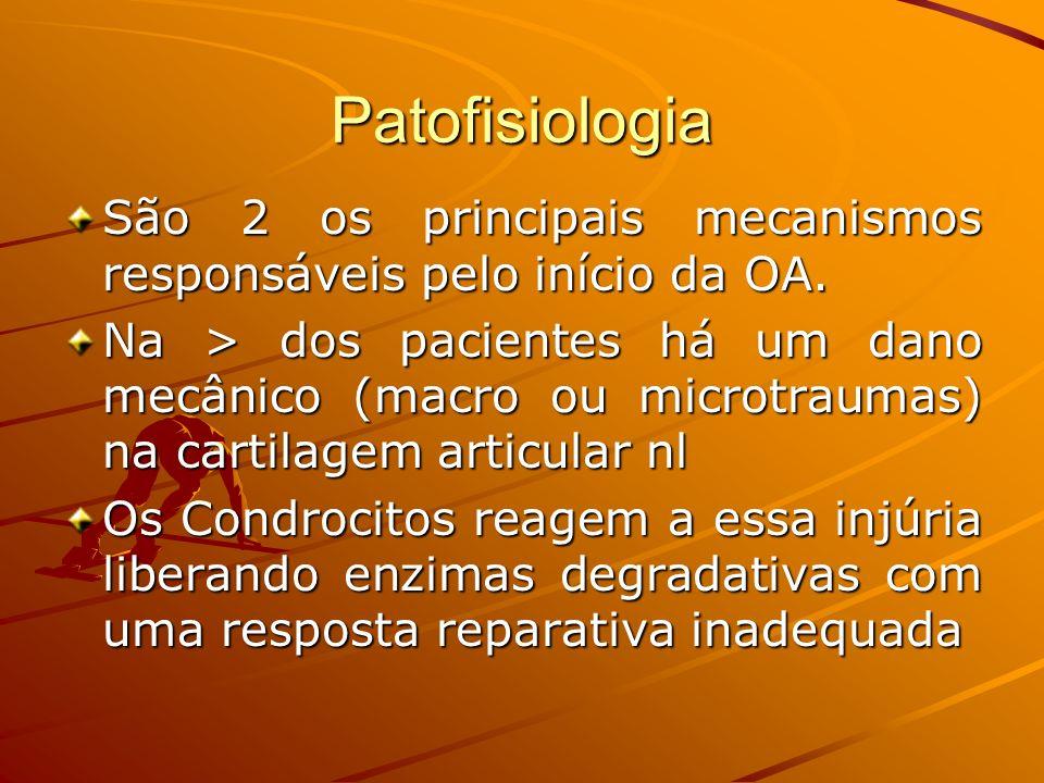 Patofisiologia São 2 os principais mecanismos responsáveis pelo início da OA. Na > dos pacientes há um dano mecânico (macro ou microtraumas) na cartil