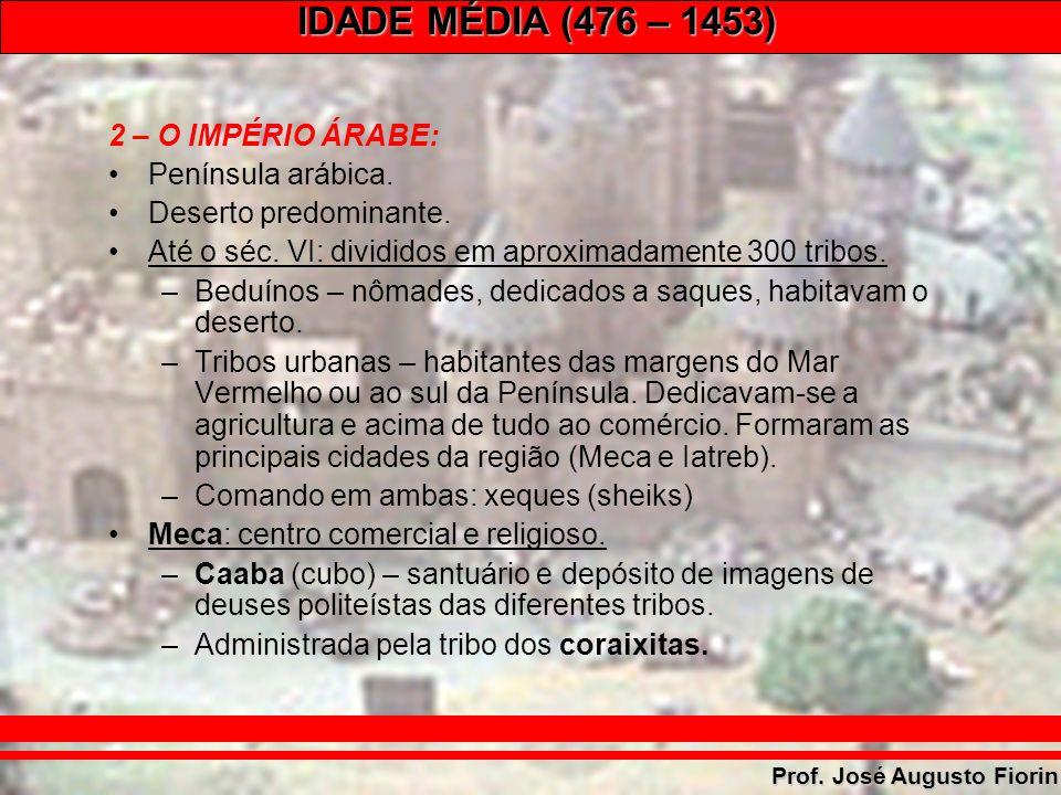 IDADE MÉDIA (476 – 1453) Prof. José Augusto Fiorin A CAABA - MECA