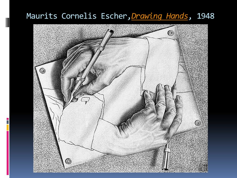 Maurits Cornelis Escher,Drawing Hands, 1948Drawing Hands