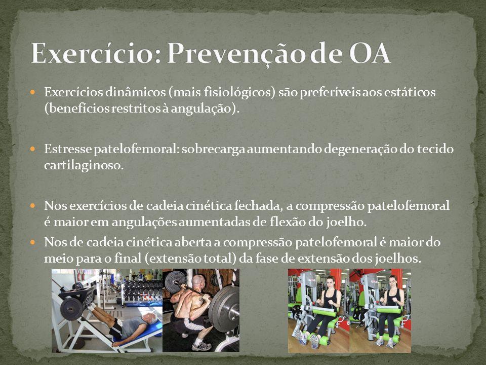 Exercícios dinâmicos (mais fisiológicos) são preferíveis aos estáticos (benefícios restritos à angulação). Estresse patelofemoral: sobrecarga aumentan