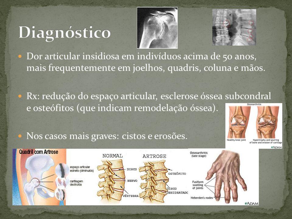 Dor articular insidiosa em indivíduos acima de 50 anos, mais frequentemente em joelhos, quadris, coluna e mãos. Rx: redução do espaço articular, escle
