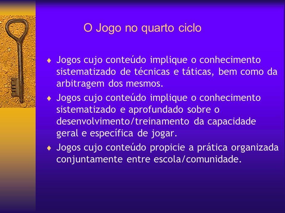 O Jogo no quarto ciclo Jogos cujo conteúdo implique o conhecimento sistematizado de técnicas e táticas, bem como da arbitragem dos mesmos. Jogos cujo