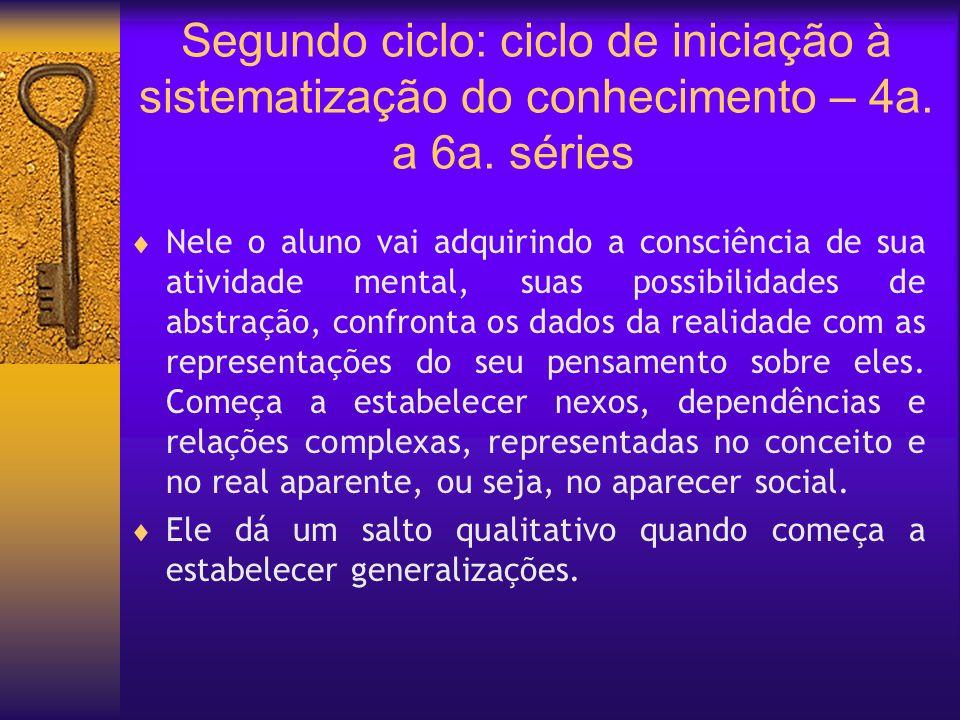 Segundo ciclo: ciclo de iniciação à sistematização do conhecimento – 4a. a 6a. séries Nele o aluno vai adquirindo a consciência de sua atividade menta