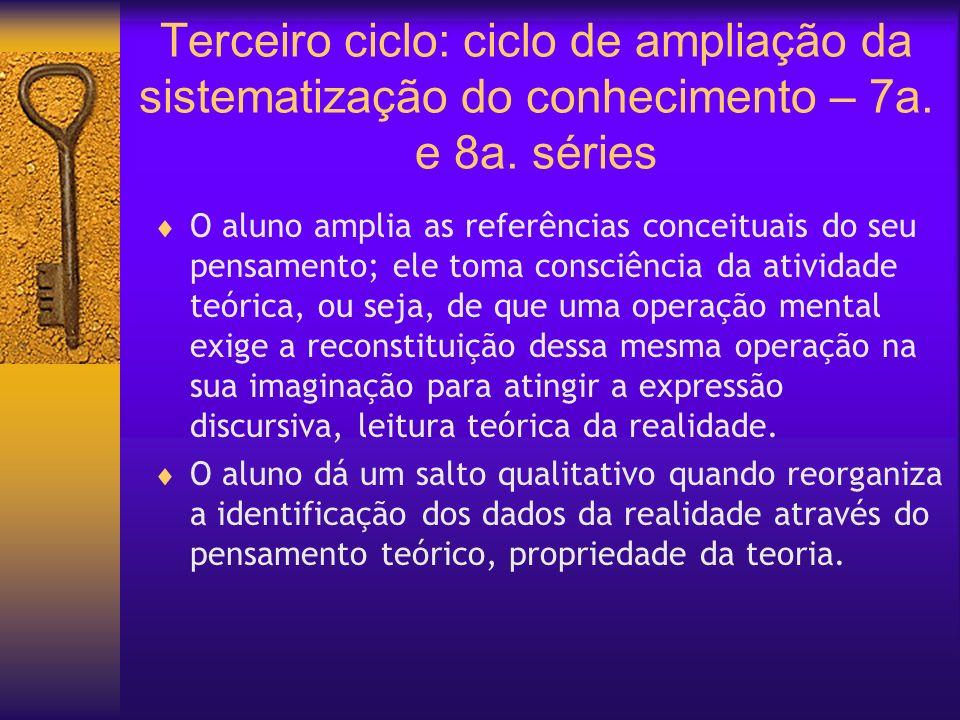 Terceiro ciclo: ciclo de ampliação da sistematização do conhecimento – 7a. e 8a. séries O aluno amplia as referências conceituais do seu pensamento; e