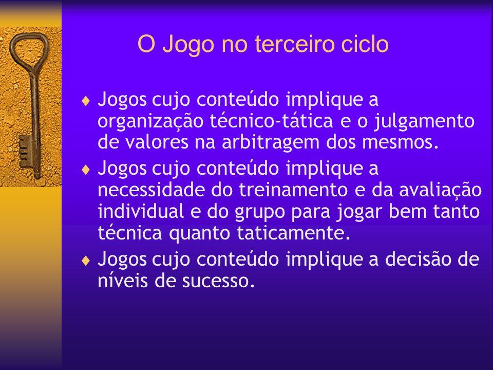 O Jogo no terceiro ciclo Jogos cujo conteúdo implique a organização técnico-tática e o julgamento de valores na arbitragem dos mesmos. Jogos cujo cont