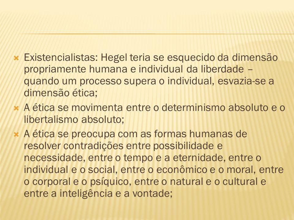 Existencialistas: Hegel teria se esquecido da dimensão propriamente humana e individual da liberdade – quando um processo supera o individual, esvazia