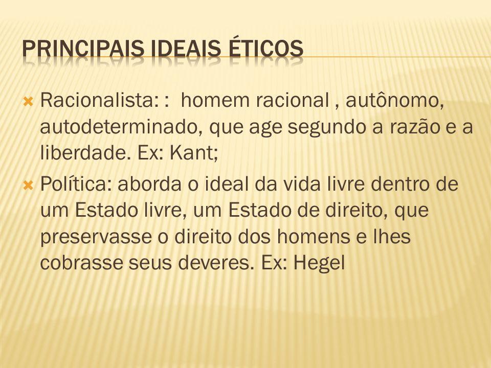 Existencialista: liberdade como ideal ético, em termos que privilegiam o aspecto pessoal da ética (autenticidade, opção).