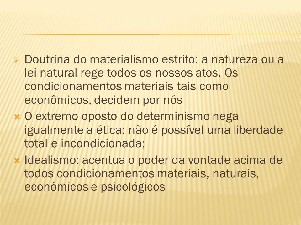 Doutrina do materialismo estrito: a natureza ou a lei natural rege todos os nossos atos. Os condicionamentos materiais tais como econômicos, decidem p