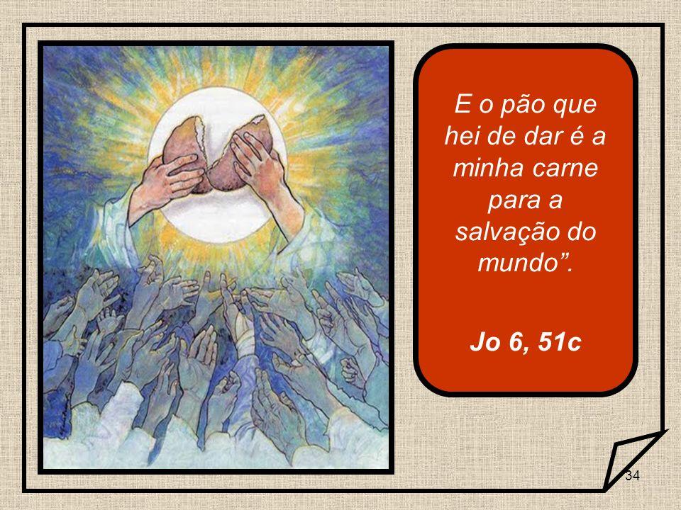 34 E o pão que hei de dar é a minha carne para a salvação do mundo. Jo 6, 51c