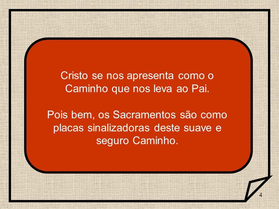 4 Cristo se nos apresenta como o Caminho que nos leva ao Pai. Pois bem, os Sacramentos são como placas sinalizadoras deste suave e seguro Caminho.