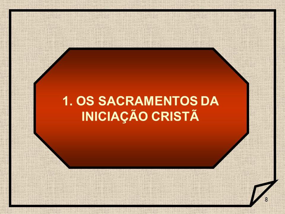 9 Batismo Crisma Eucaristia Pelos sacramentos da iniciação cristã: são colocados os fundamentos de toda a vida cristã.