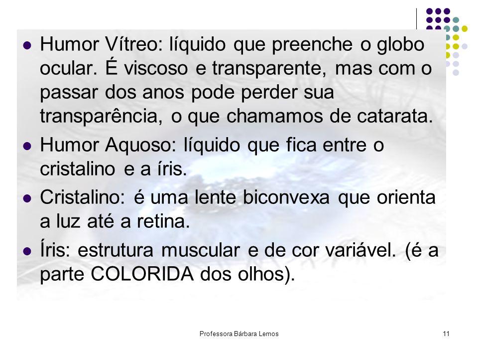 Professora Bárbara Lemos11 Humor Vítreo: líquido que preenche o globo ocular. É viscoso e transparente, mas com o passar dos anos pode perder sua tran