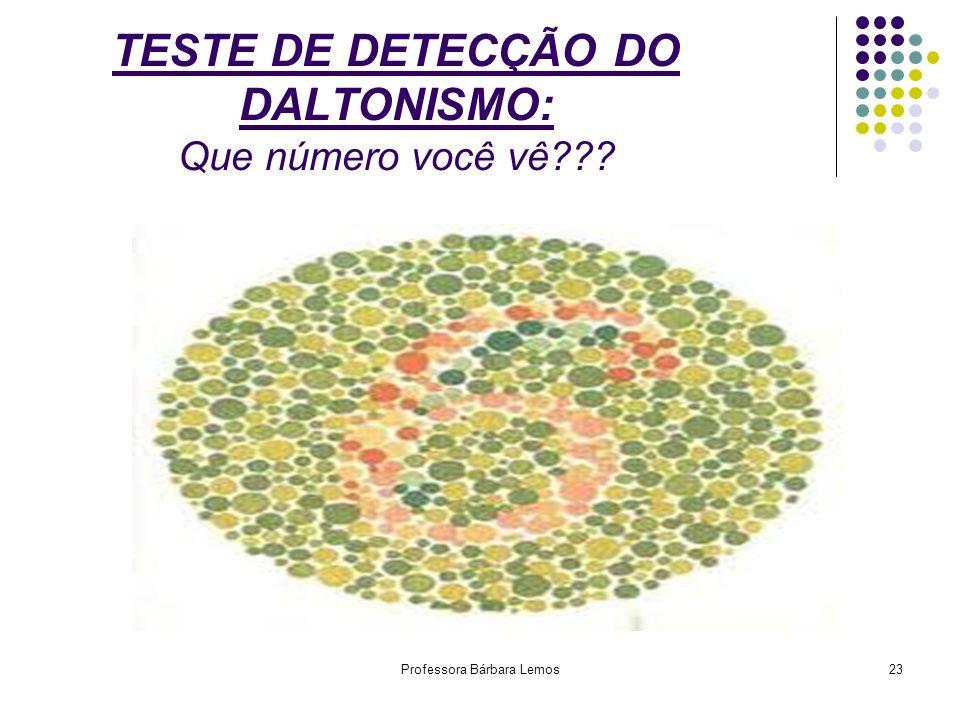 Professora Bárbara Lemos23 TESTE DE DETECÇÃO DO DALTONISMO: Que número você vê???