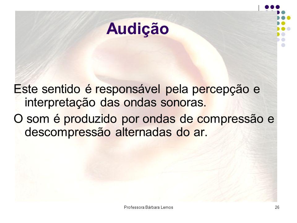 Professora Bárbara Lemos26 Audição Este sentido é responsável pela percepção e interpretação das ondas sonoras. O som é produzido por ondas de compres