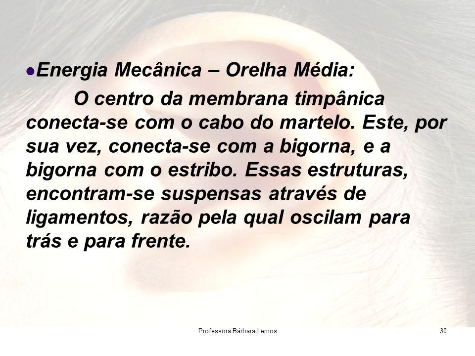 Professora Bárbara Lemos30 Energia Mecânica – Orelha Média: O centro da membrana timpânica conecta-se com o cabo do martelo. Este, por sua vez, conect