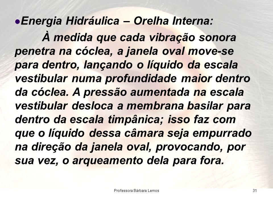 Professora Bárbara Lemos31 Energia Hidráulica – Orelha Interna: À medida que cada vibração sonora penetra na cóclea, a janela oval move-se para dentro