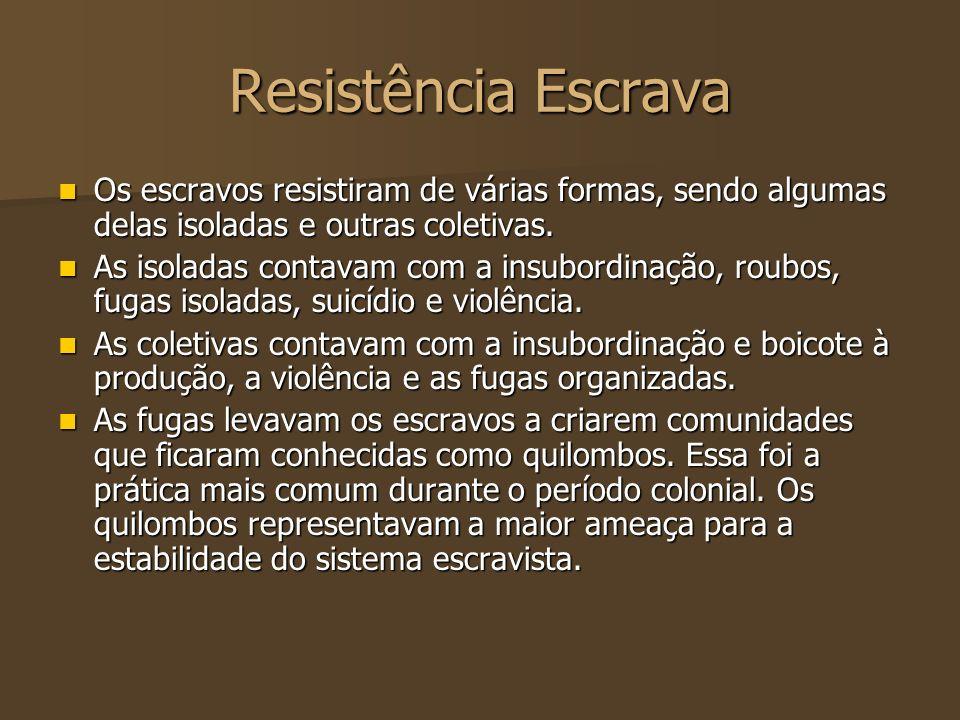 Resistência Escrava Os escravos resistiram de várias formas, sendo algumas delas isoladas e outras coletivas. Os escravos resistiram de várias formas,