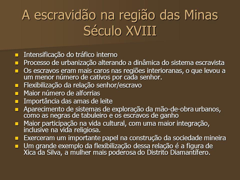 A escravidão na região das Minas Século XVIII Intensificação do tráfico interno Intensificação do tráfico interno Processo de urbanização alterando a
