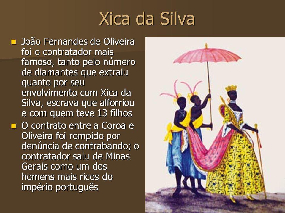 Xica da Silva João Fernandes de Oliveira foi o contratador mais famoso, tanto pelo número de diamantes que extraiu quanto por seu envolvimento com Xic
