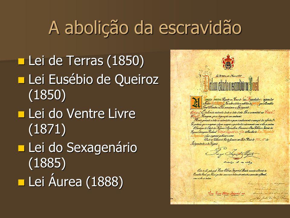 A abolição da escravidão Lei de Terras (1850) Lei de Terras (1850) Lei Eusébio de Queiroz (1850) Lei Eusébio de Queiroz (1850) Lei do Ventre Livre (18