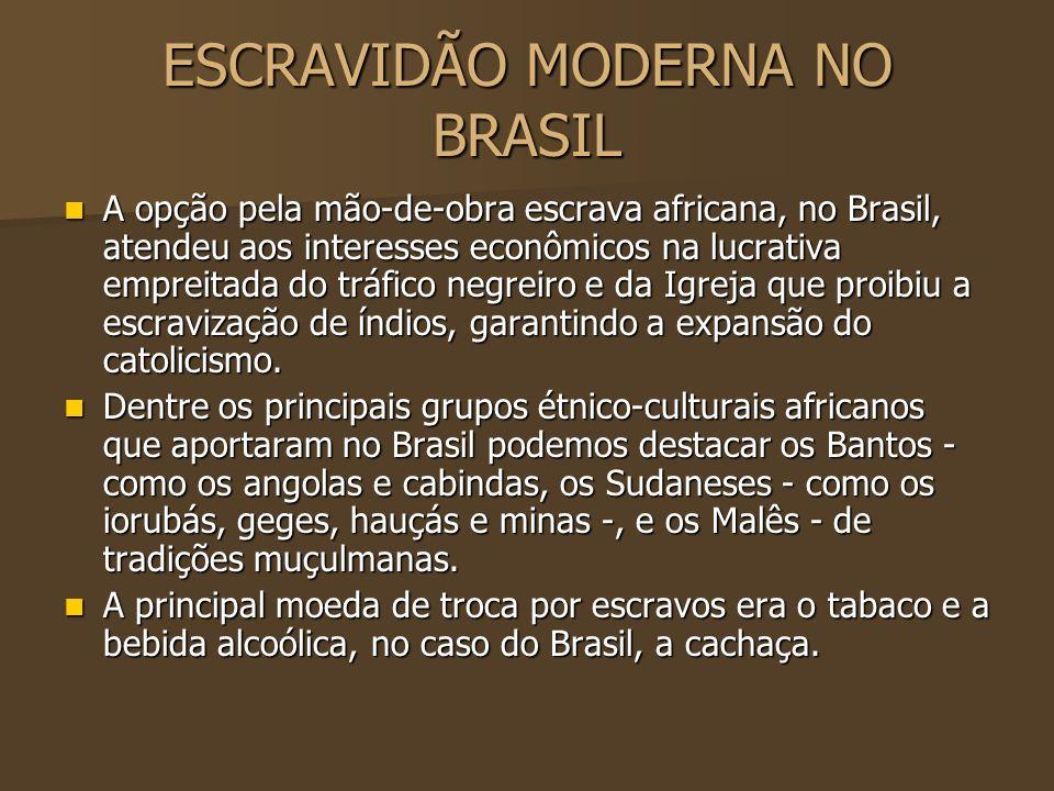 ESCRAVIDÃO MODERNA NO BRASIL A opção pela mão-de-obra escrava africana, no Brasil, atendeu aos interesses econômicos na lucrativa empreitada do tráfic