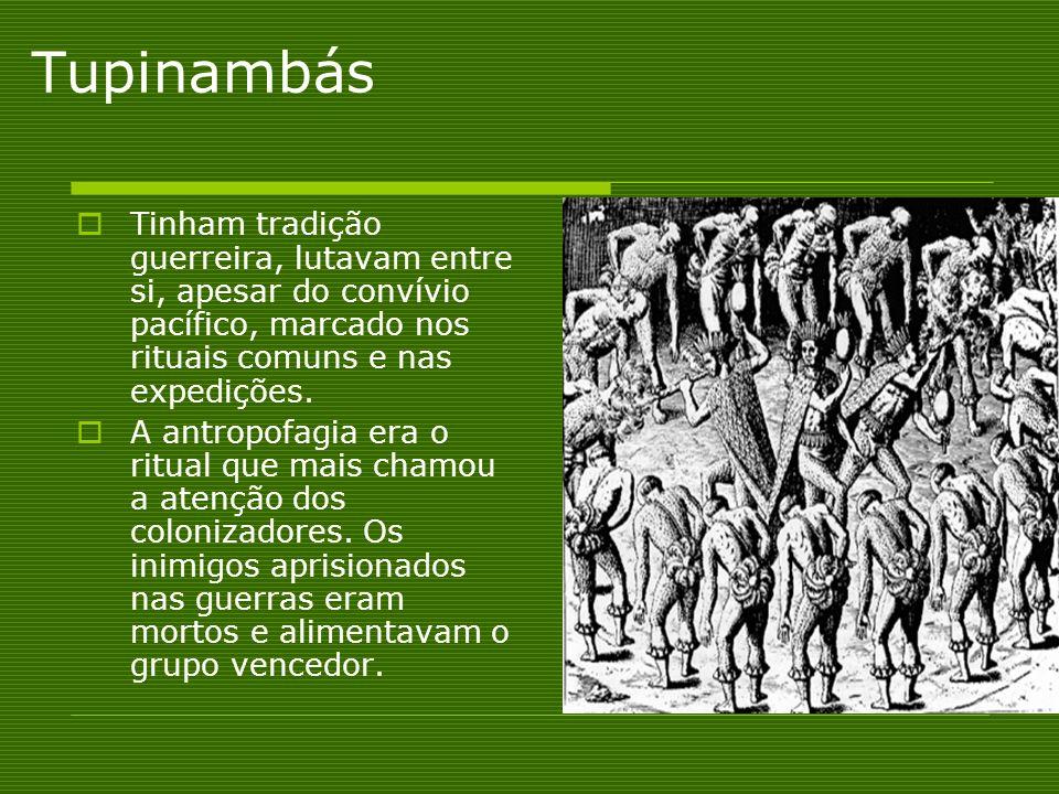 Tupinambás Tinham tradição guerreira, lutavam entre si, apesar do convívio pacífico, marcado nos rituais comuns e nas expedições. A antropofagia era o