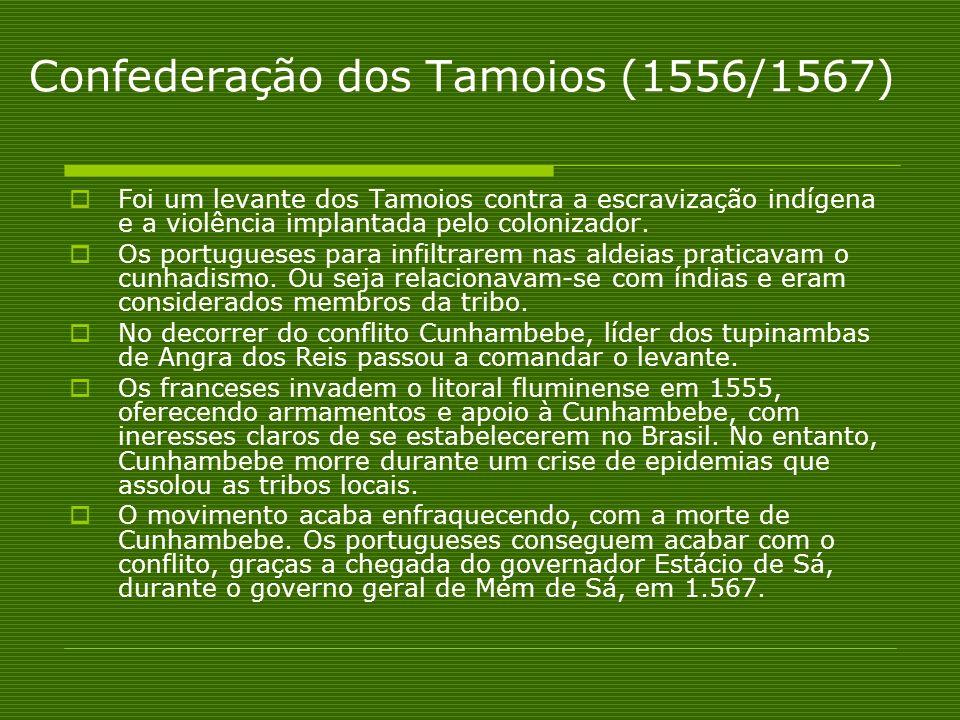 Confederação dos Tamoios (1556/1567) Foi um levante dos Tamoios contra a escravização indígena e a violência implantada pelo colonizador. Os portugues