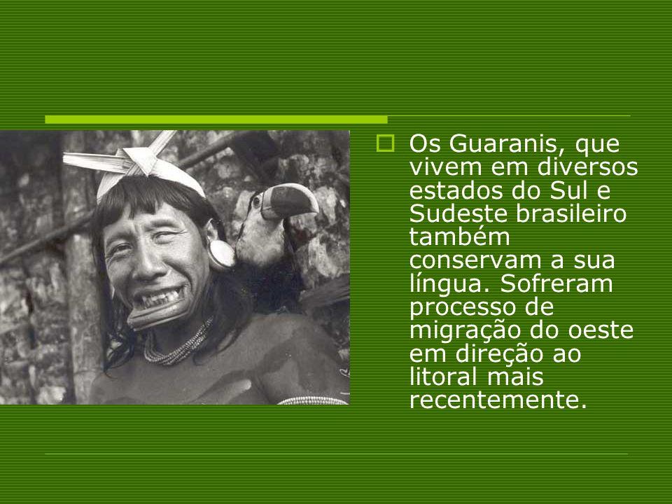 Os Guaranis, que vivem em diversos estados do Sul e Sudeste brasileiro também conservam a sua língua. Sofreram processo de migração do oeste em direçã