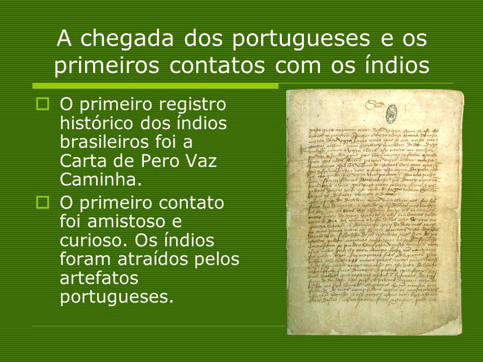 A chegada dos portugueses e os primeiros contatos com os índios O primeiro registro histórico dos índios brasileiros foi a Carta de Pero Vaz Caminha.