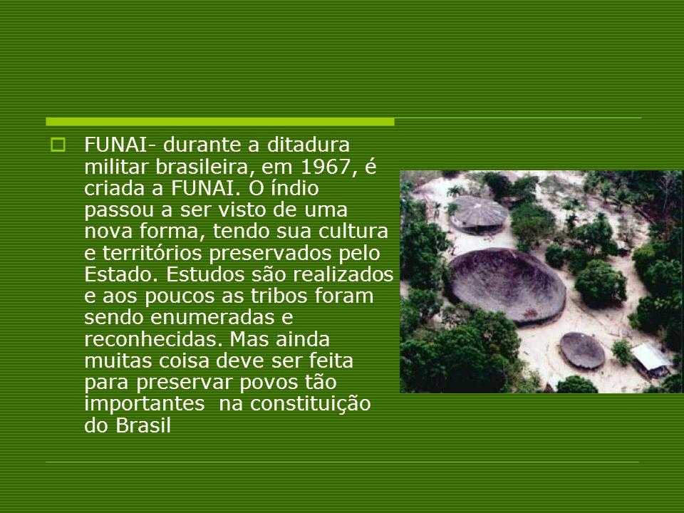 FUNAI- durante a ditadura militar brasileira, em 1967, é criada a FUNAI. O índio passou a ser visto de uma nova forma, tendo sua cultura e territórios