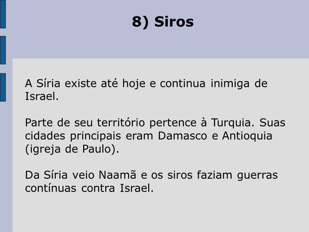 8) Siros A Síria existe até hoje e continua inimiga de Israel.