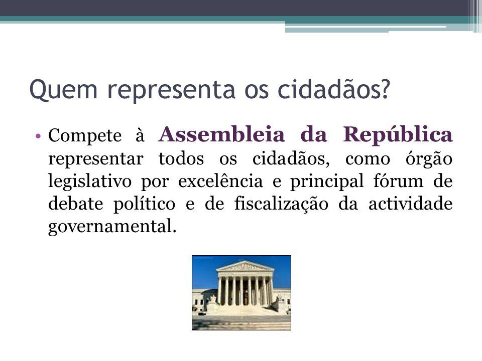 Quem representa os cidadãos? Compete à Assembleia da República representar todos os cidadãos, como órgão legislativo por excelência e principal fórum