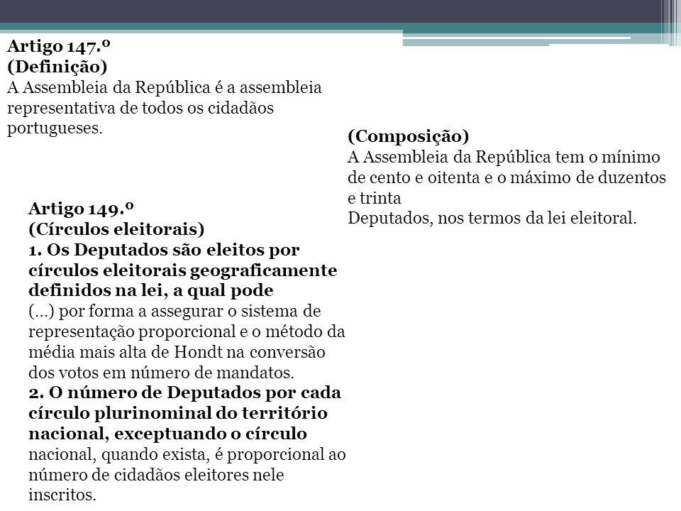 Artigo 147.º (Definição) A Assembleia da República é a assembleia representativa de todos os cidadãos portugueses. (Composição) A Assembleia da Repúbl
