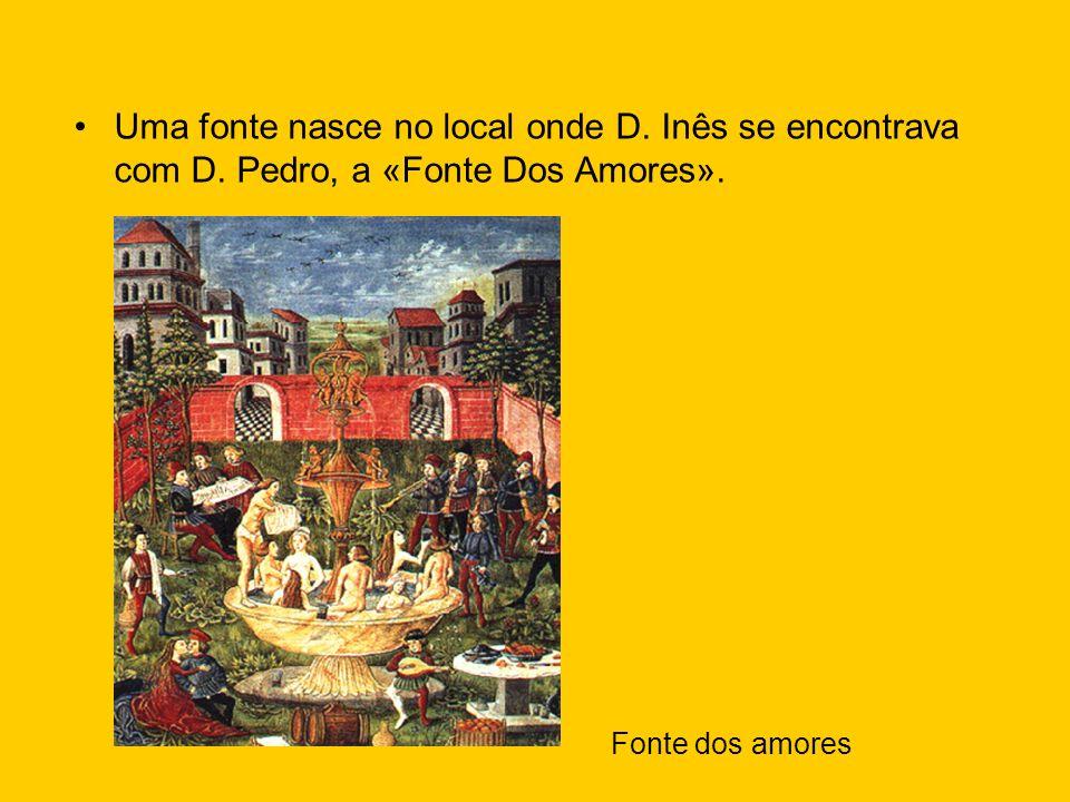 Uma fonte nasce no local onde D. Inês se encontrava com D. Pedro, a «Fonte Dos Amores». Fonte dos amores