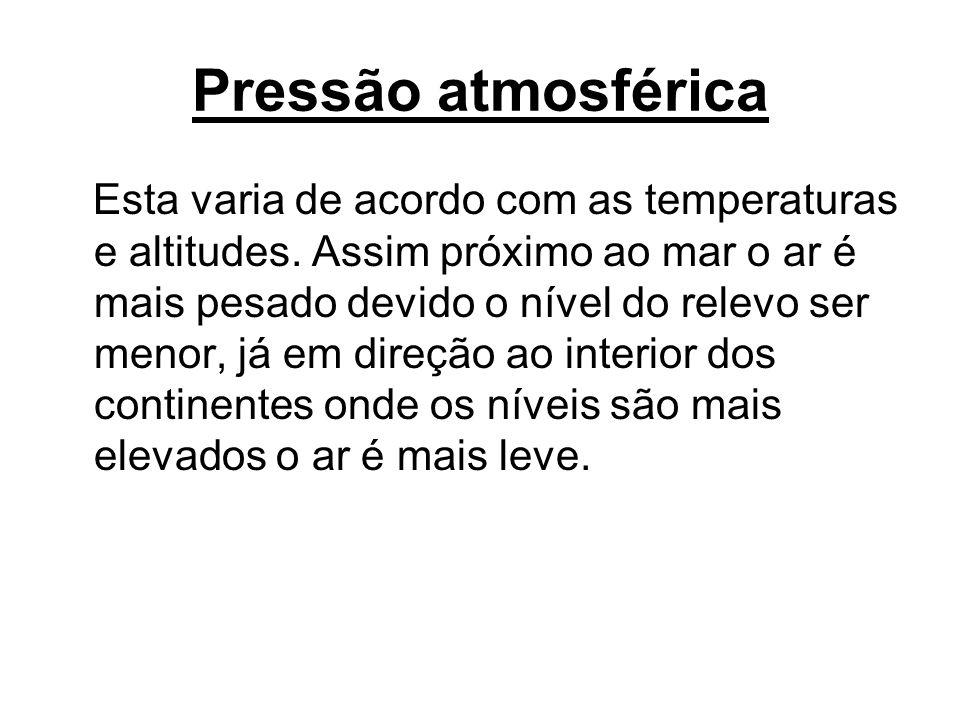 Pressão atmosférica Esta varia de acordo com as temperaturas e altitudes. Assim próximo ao mar o ar é mais pesado devido o nível do relevo ser menor,