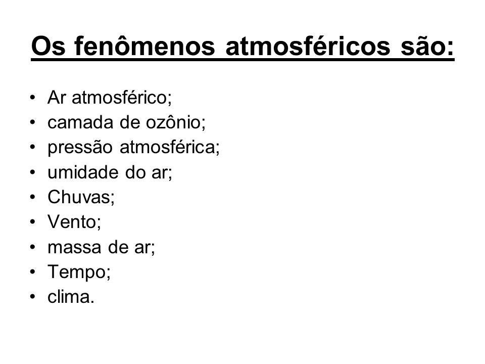 Os fenômenos atmosféricos são: Ar atmosférico; camada de ozônio; pressão atmosférica; umidade do ar; Chuvas; Vento; massa de ar; Tempo; clima.