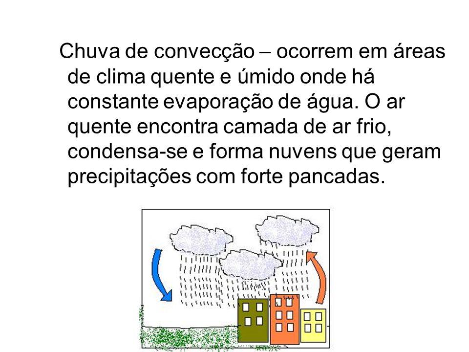 Chuva de convecção – ocorrem em áreas de clima quente e úmido onde há constante evaporação de água. O ar quente encontra camada de ar frio, condensa-s