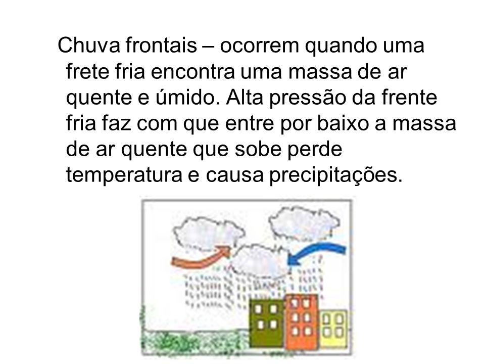 Chuva frontais – ocorrem quando uma frete fria encontra uma massa de ar quente e úmido. Alta pressão da frente fria faz com que entre por baixo a mass