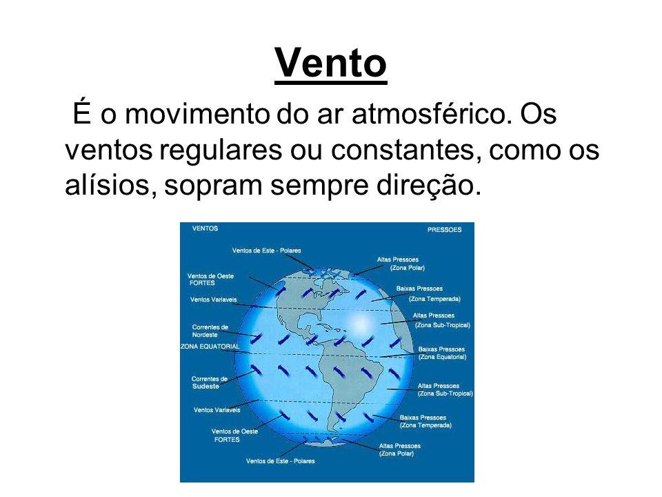 Vento É o movimento do ar atmosférico. Os ventos regulares ou constantes, como os alísios, sopram sempre direção.