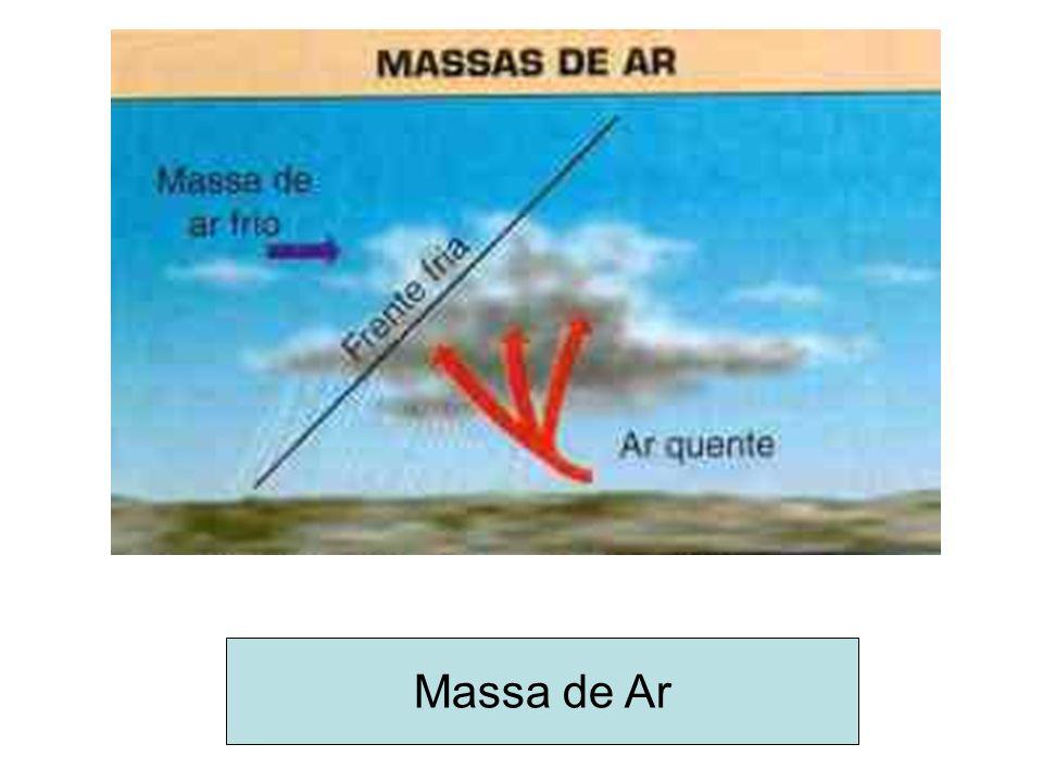 O encontro de duas massas geralmente uma fria e outra quente dá-se o nome de frente – quando esta se chocam ocorrem as chuvas e o tempo muda.