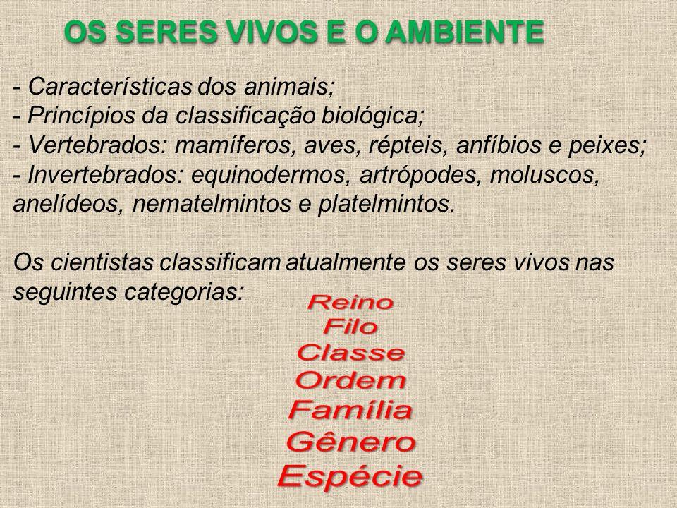 - Características dos animais; - Princípios da classificação biológica; - Vertebrados: mamíferos, aves, répteis, anfíbios e peixes; - Invertebrados: e