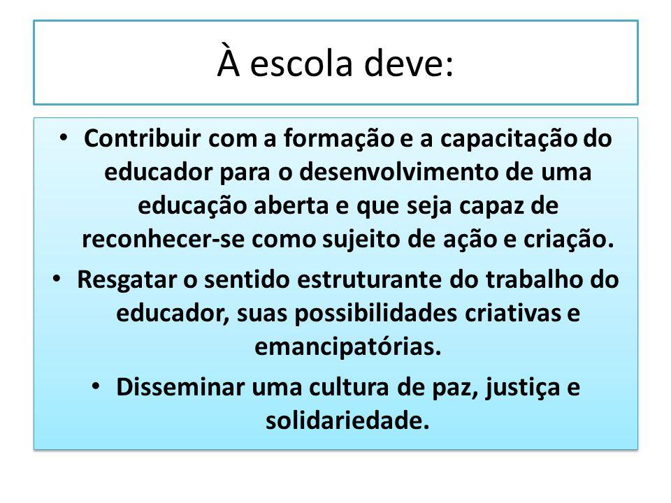 À escola deve: Contribuir com a formação e a capacitação do educador para o desenvolvimento de uma educação aberta e que seja capaz de reconhecer-se c