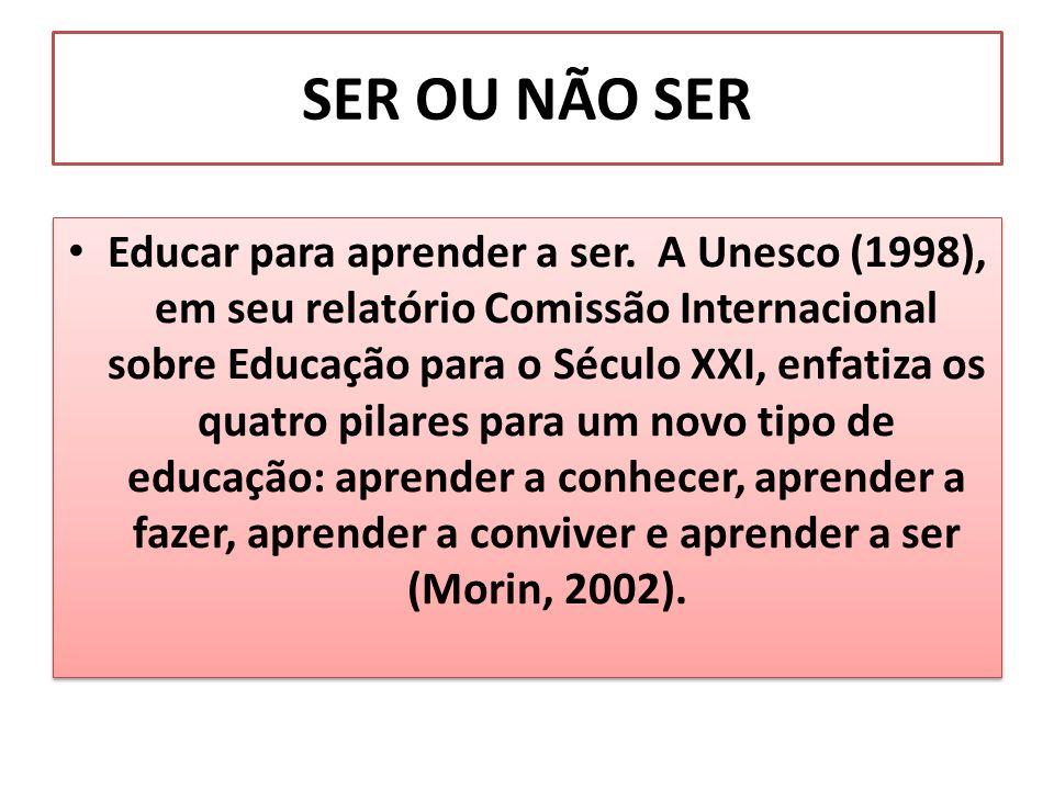 SER OU NÃO SER Educar para aprender a ser. A Unesco (1998), em seu relatório Comissão Internacional sobre Educação para o Século XXI, enfatiza os quat