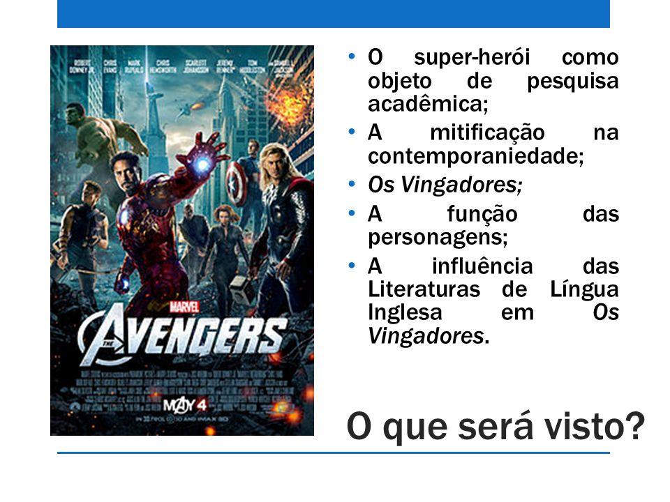 O que será visto? O super-herói como objeto de pesquisa acadêmica; A mitificação na contemporaniedade; Os Vingadores; A função das personagens; A infl