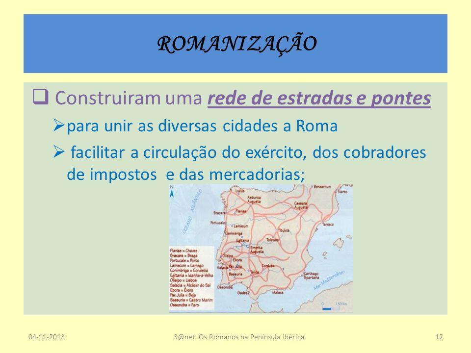 ROMANIZAÇÃO Construiram uma rede de estradas e pontes para unir as diversas cidades a Roma facilitar a circulação do exército, dos cobradores de impos